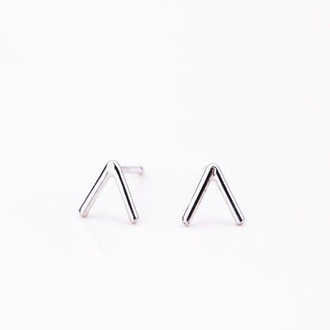 Tiny Temple Stud Earrings - Silver