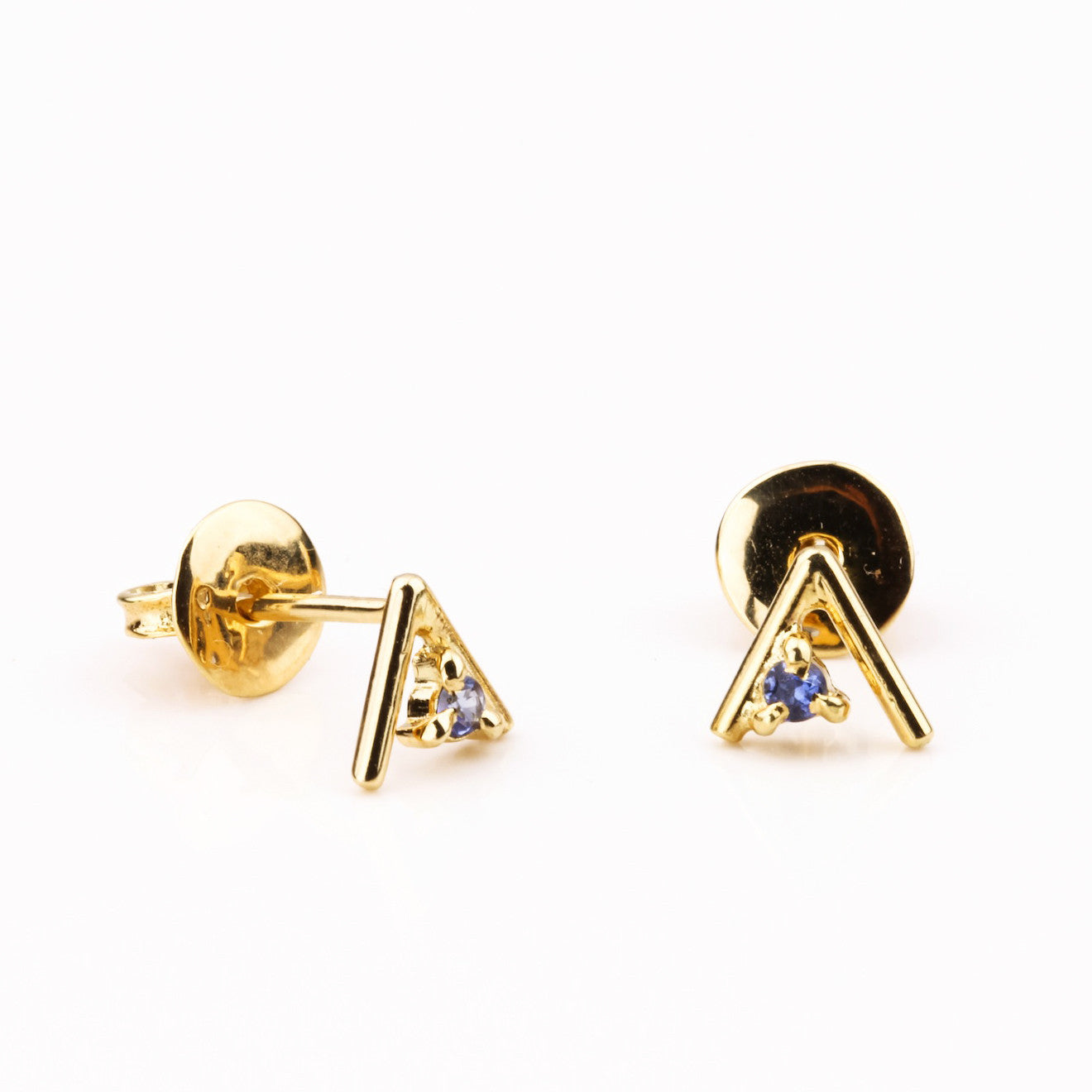 Tiny Temple Gem Earrings - Yellow Gold with Blue Tourmaline