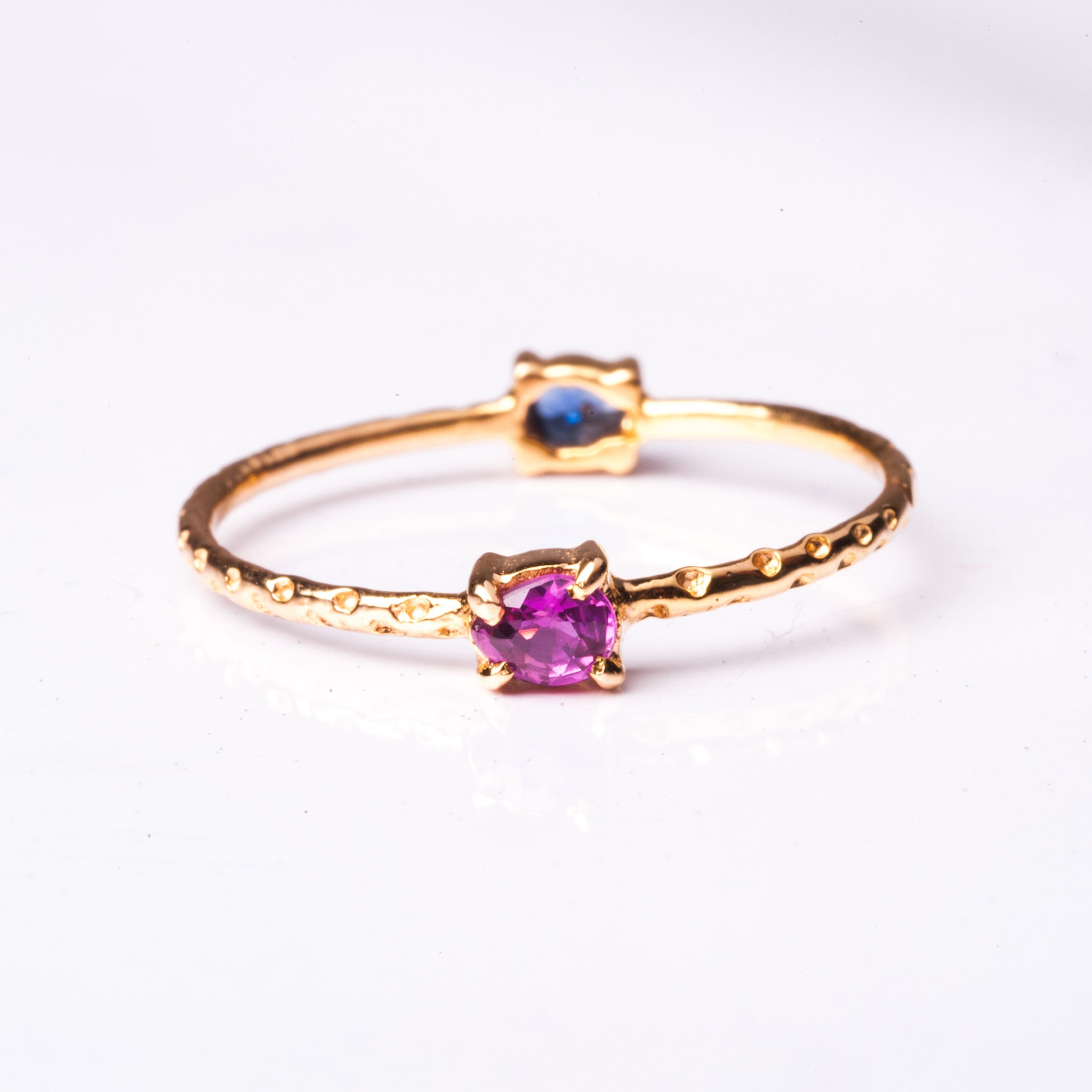 Double Gem Flip Ring - Pink Garnet & Blue Tourmaline