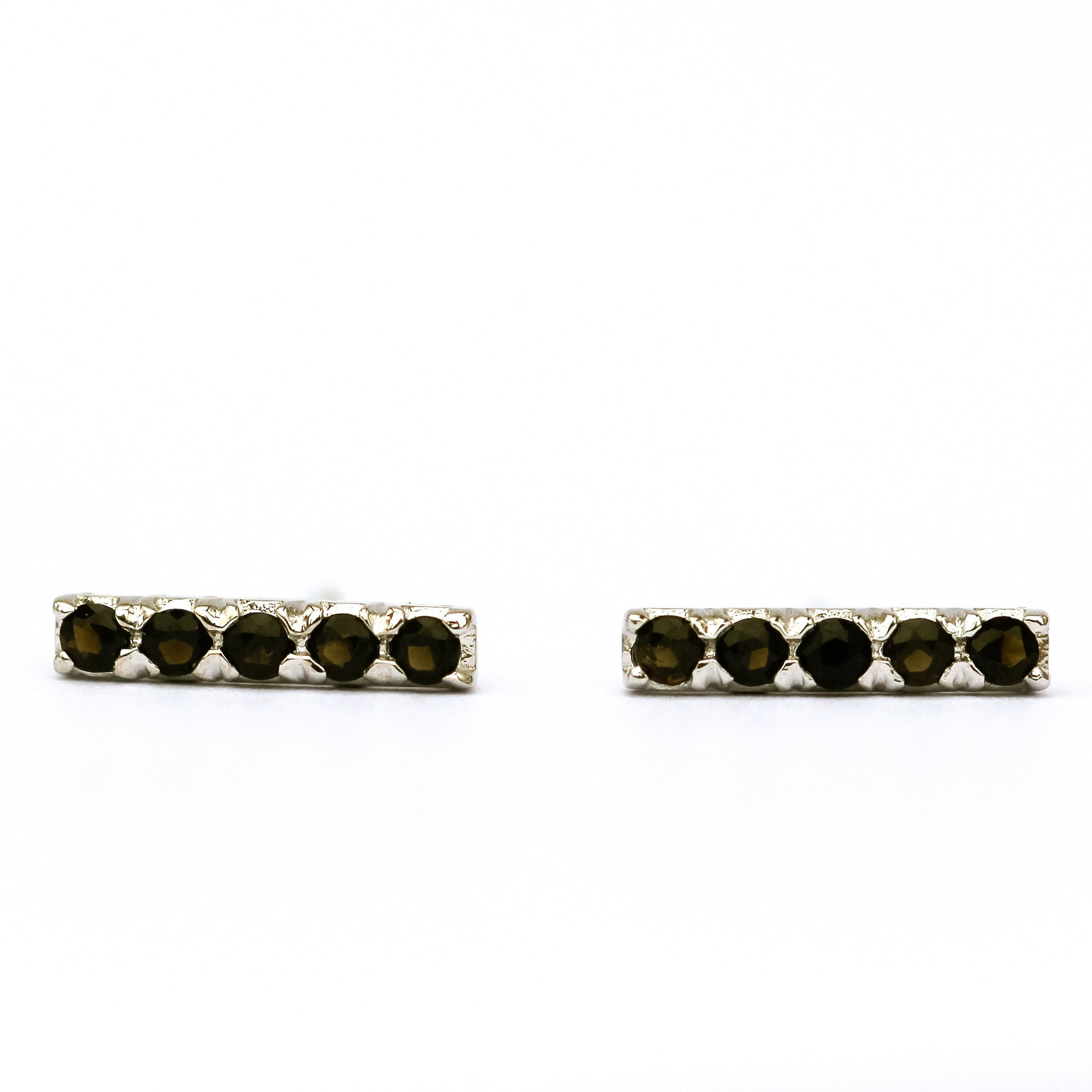 Pave Bar Stud Earring - White Gold & Smoky Quartz