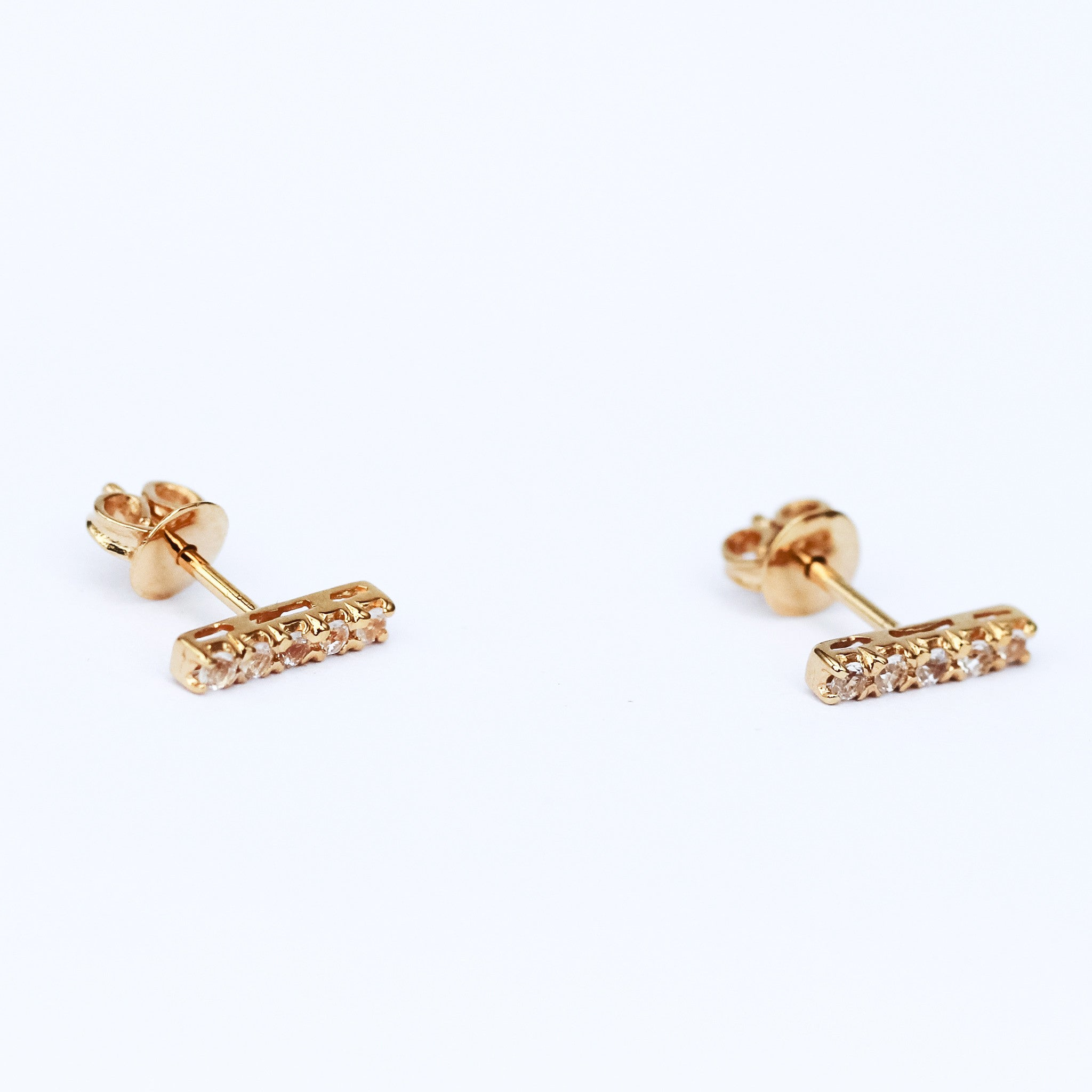 Pave Bar Stud Earring - Zircon Rose Gold