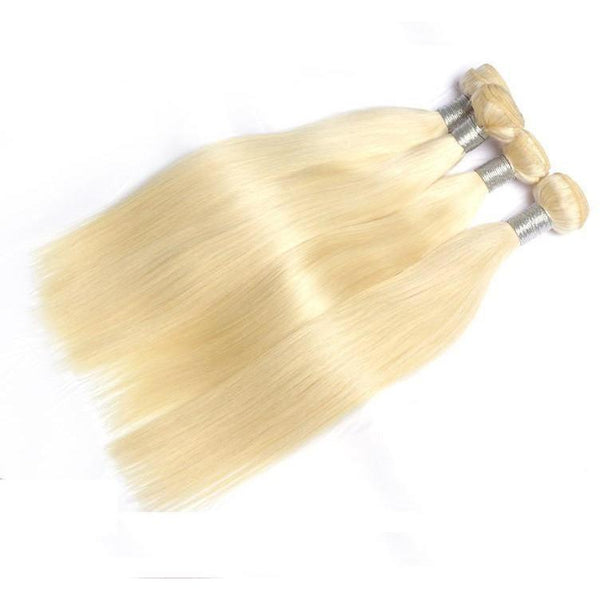 Hey! I'm a Platinum Blonde Natural Straight Bundle Deal