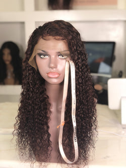Wine Red Deep Curly Frontal Unit