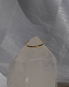 Gold plated dainty stacking adjustable style ring with mini cubic zirconia stone