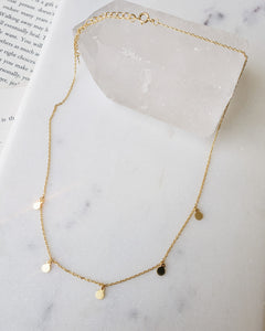 18k gold plated high quality sterling silver dainty necklace with gold discs and adjustable length chain