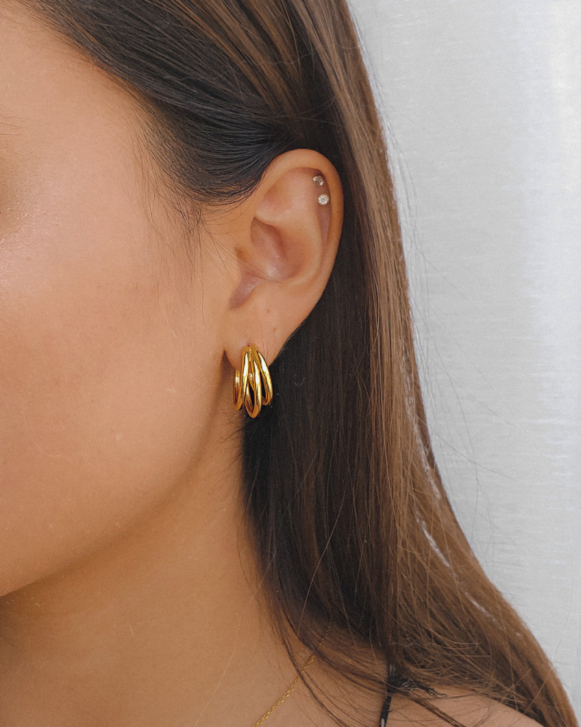 Gold plated sterling silver triple hoop earrings