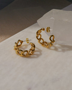 gold plated chain link style hoop earrings