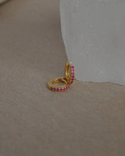 Load image into Gallery viewer, STELLA MINI HUGGIE EARRINGS -- PINK