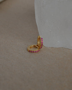 STELLA MINI HUGGIE EARRINGS -- PINK