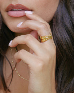 gold plated snake chain layered ring