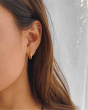 Load image into Gallery viewer, 18k gold plated sterling silver mini twisted hoop earrings