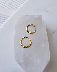 18k gold plated sterling silver mini twisted hoop earrings