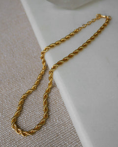 24k gold plated chunky adjustable length rope chain necklace