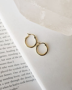 18k gold plated high quality sterling silver basic hoop earrings