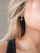 Load image into Gallery viewer, 18k gold plated high quality sterling silver hoops with a dangle lightning bolt charm