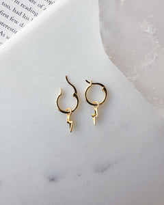 18k gold plated high quality sterling silver hoops with a dangle lightning bolt charm