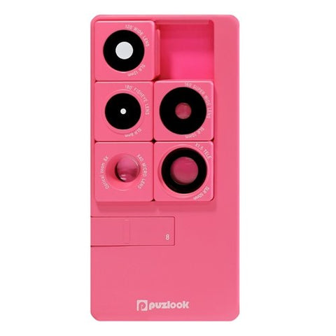 Puzlook iPhone 5/5S/SE case with 5-in-1 SLR Multi-lens (Pink)