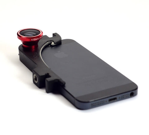Xistera tripod mount for iPhone 5/5S with Fisheye Macro & wideangle lens