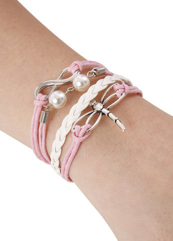Dragon Fly with Pearls Infinity Bracelet