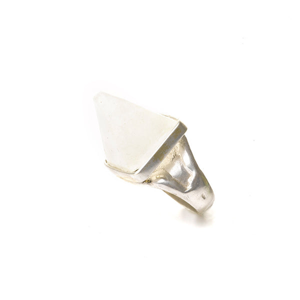 White silver pyramid ring