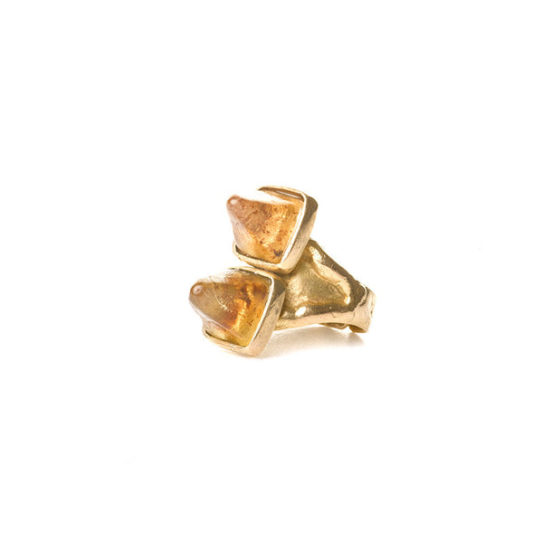Double amber pyramid ring