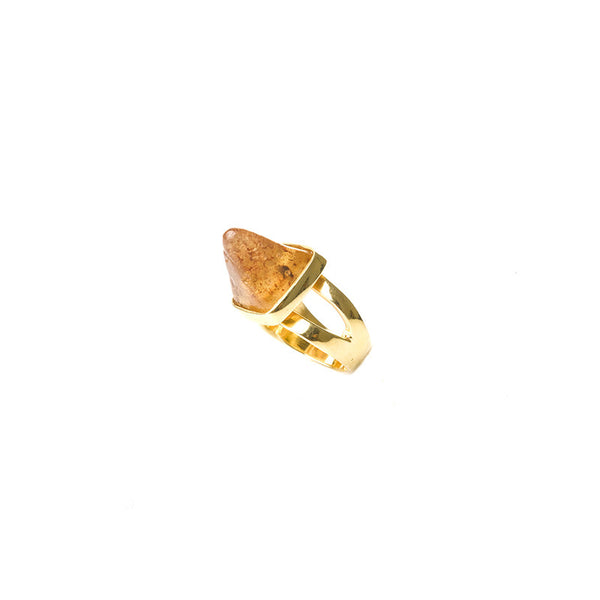 Mini honey amber pyramid ring