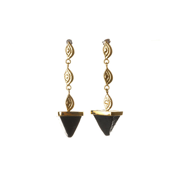 Three eye black pyramid earrings