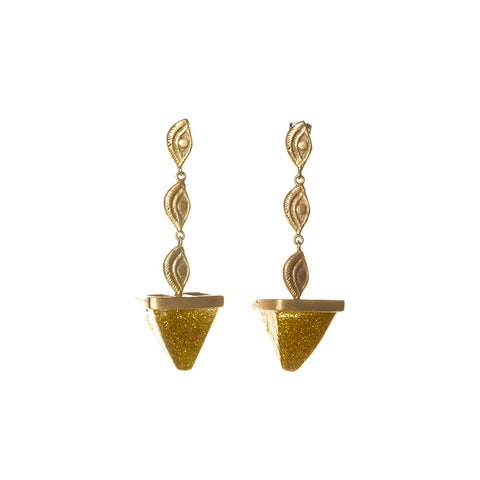 Three eye golden sparkles pyramid earrings