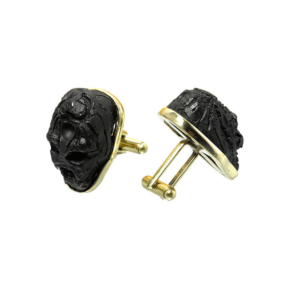 Black resin skull cufflinks