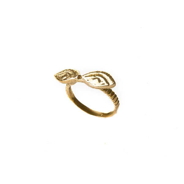 Double golden eye ring