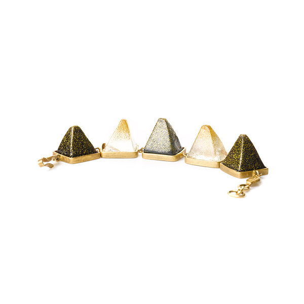 Three color pyramid golden bracelet