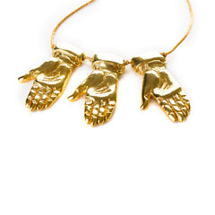 Golden hands trio necklace