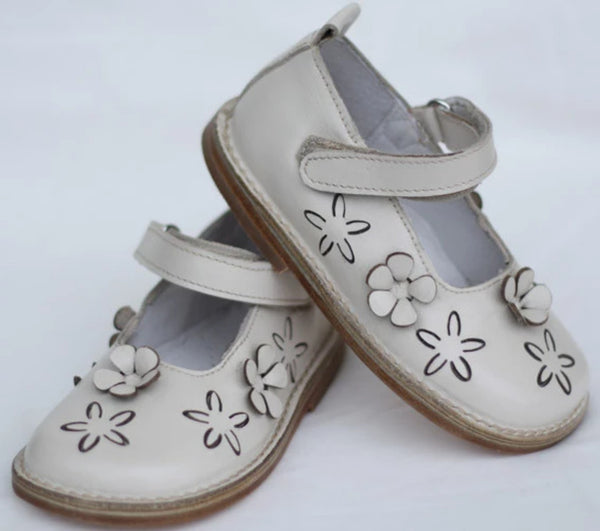 Morello Shoes - Toddler Cream Leather Mary Jane Shoes - Bon Bon Tresor