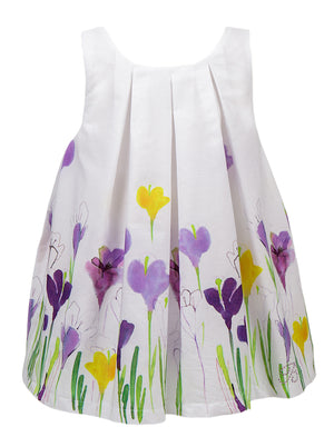Balloon Chic - Girls White/Purple Floral Party Dress | Party Dresses | Bon Bon Tresor