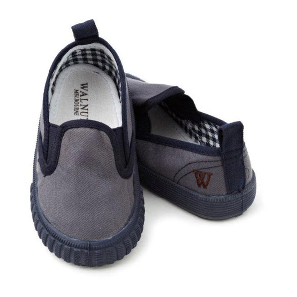Walnut Shoes - Boys Charcoal/Navy Charlie Cruise Shoes | Canvas | Bon Bon Tresor
