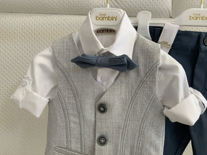 Dolce Bambini - Baby Boy 3 Piece Navy Suit | Christening Suits & Sets | Bon Bon Tresor