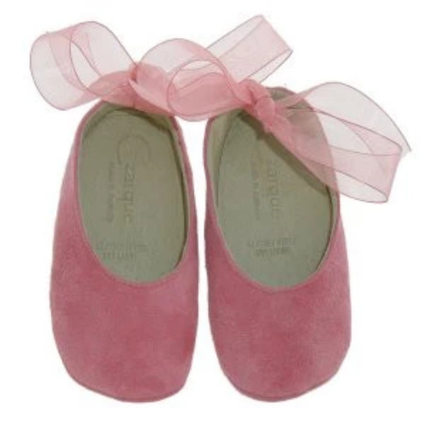 Czarque Baby Shoes - Baby Girl Pink Suede Ballet Shoes - Bon Bon Tresor