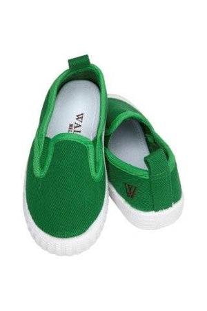 Walnut Shoes - Boys Green Cruise Shoes | Canvas | Bon Bon Tresor
