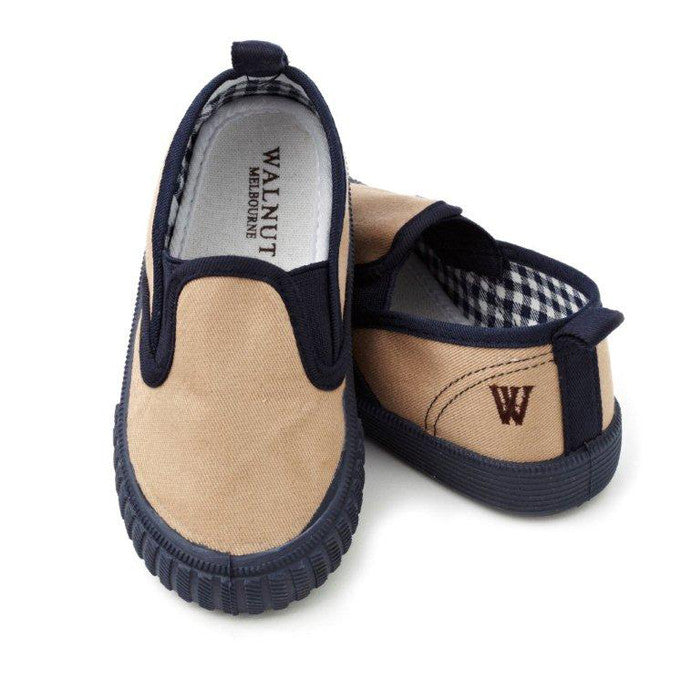 Walnut Shoes - Boys Taupe/Navy Charlie Cruise Shoes | Canvas | Bon Bon Tresor