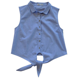 Willow and Finn - Girls Cotton Denim Shirt | Tops & T-Shirts | Bon Bon Tresor