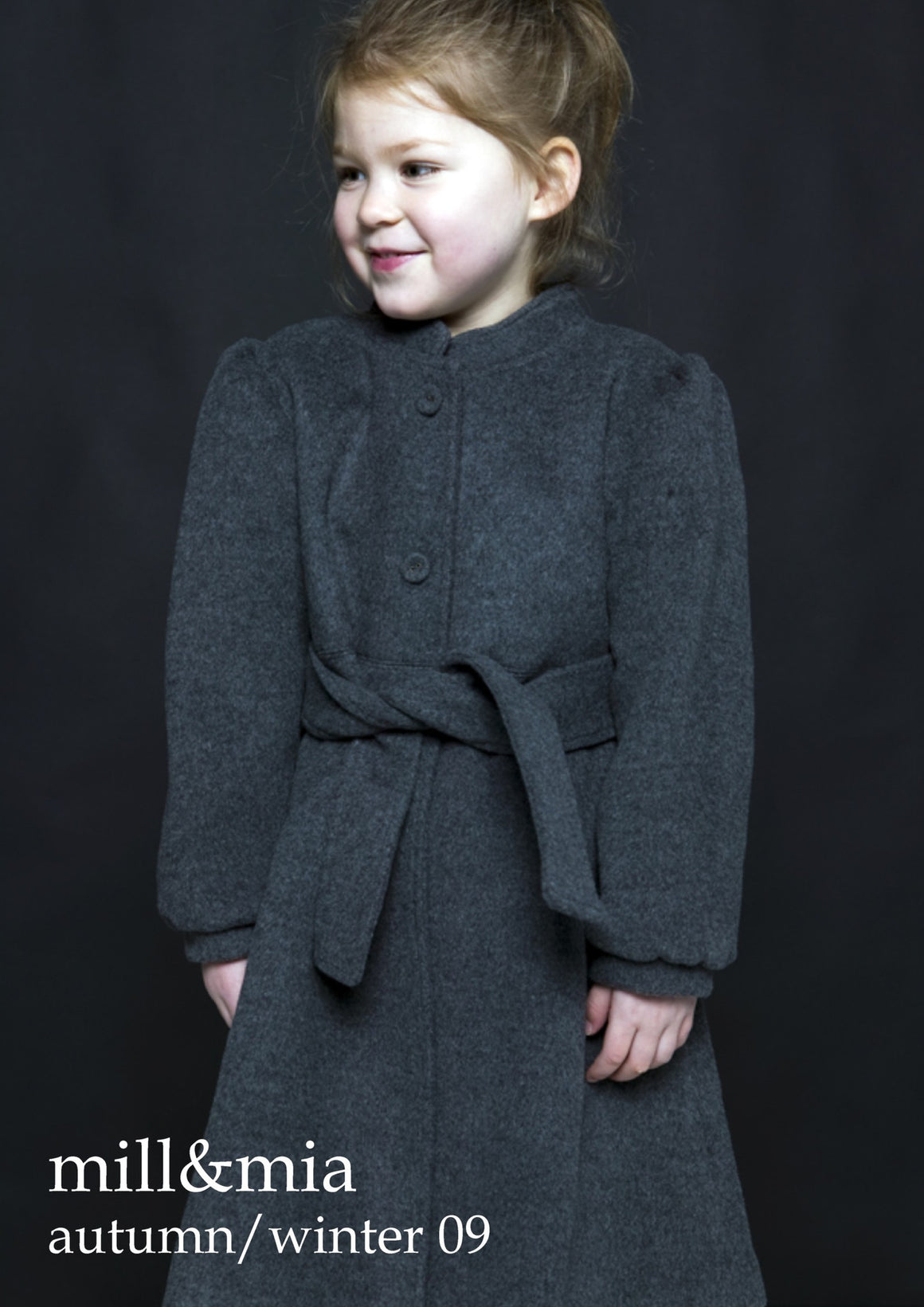 Mill & Mia - Girls Charcoal Gathered Sleeve Wool Coat | Coats & Jackets | Bon Bon Tresor