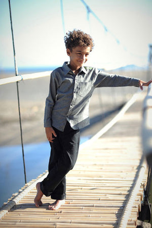 Three Little Trees - Boys Black Gravity Drill Pants | Tops & T-Shirts | Bon Bon Tresor