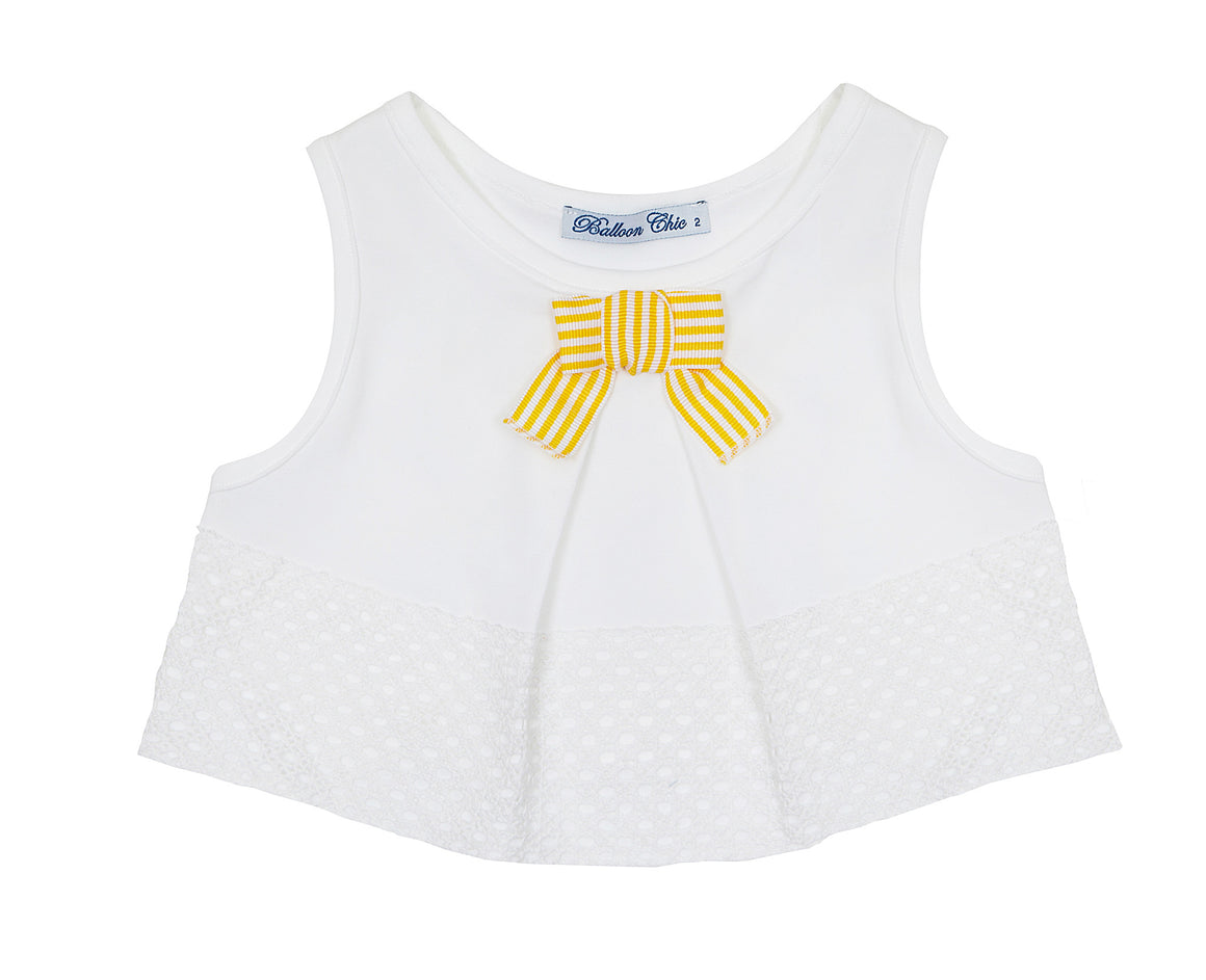 Balloon Chic - Girls White Sleeveless Top | Tops & T-Shirts | Bon Bon Tresor