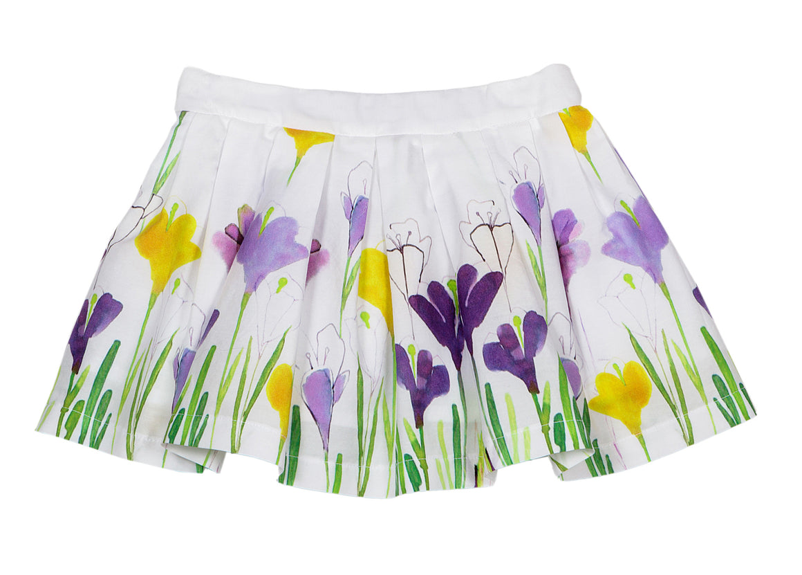 Balloon Chic - Girls White/Purple Floral Skirt | Dresses & Skirts | Bon Bon Tresor