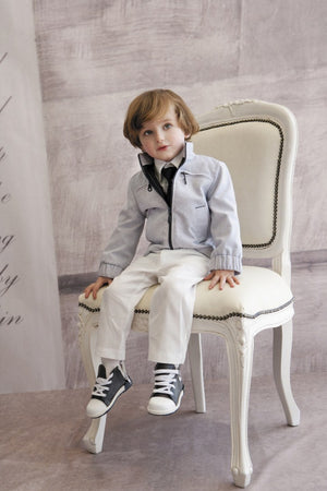 Styled by Alexandros - Baby Boy Grey 3 piece Suit | Christening Suits & Sets | Bon Bon Tresor
