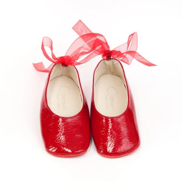 Czarque Baby Shoes - Baby Girl Red Patent Ballet Shoes - Bon Bon Tresor