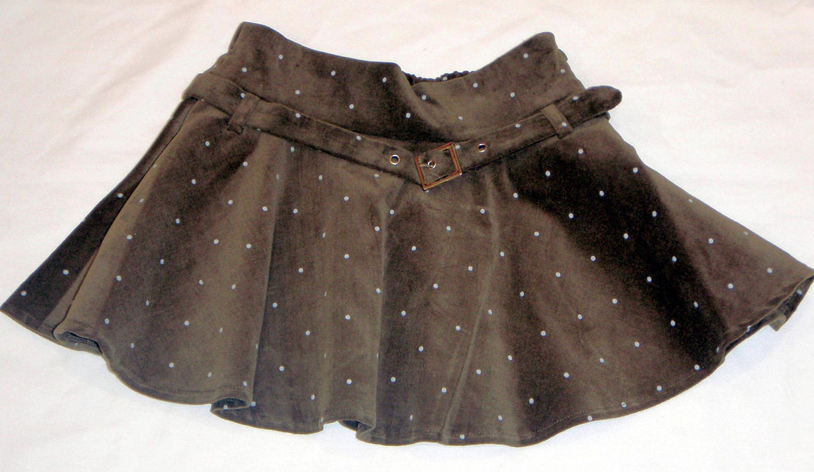 Mirtillo - Girls Velvet Olive Skirt | Dresses & Skirts | Bon Bon Tresor