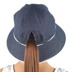 Bedhead Hats - Ponytail Ruffle Trim Bucket Hat Denim | Sun hat | Bon Bon Tresor