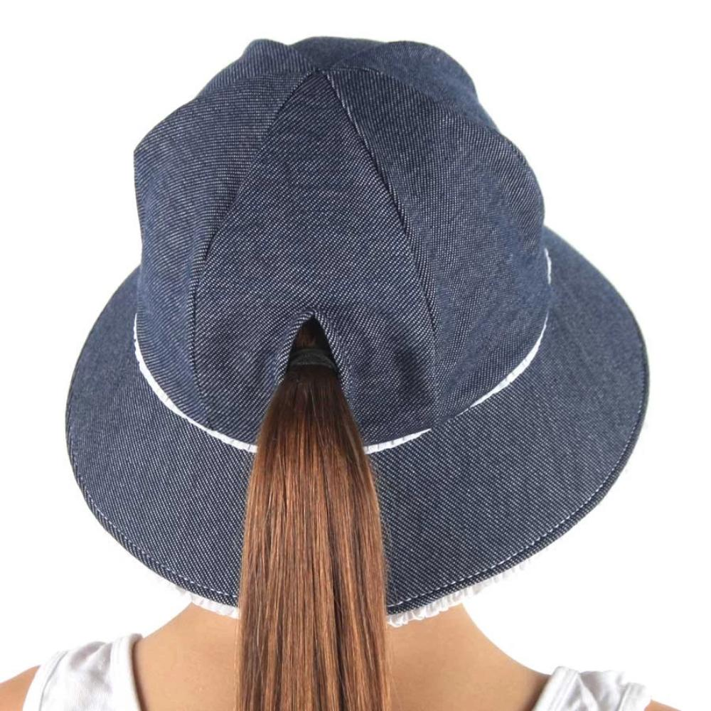 Bedhead Hat - Ponytail Ruffle Trim Bucket Hat Denim | Sun hat | Bon Bon Tresor