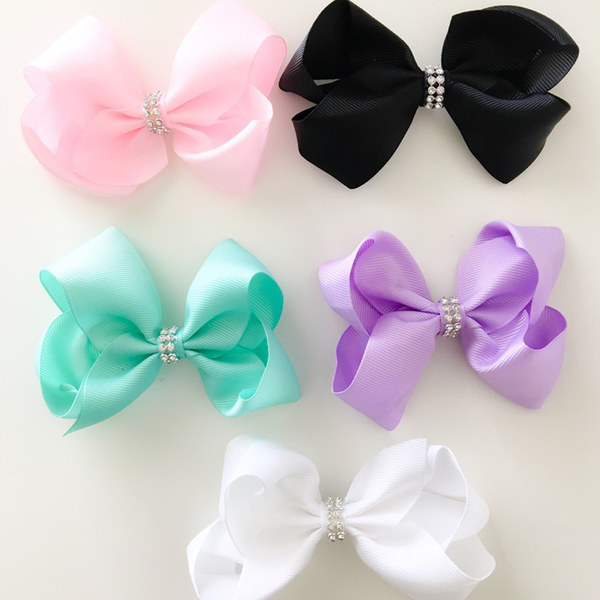 Sister Bows - Girls Mixed Rhinestone Bow Hair Clip